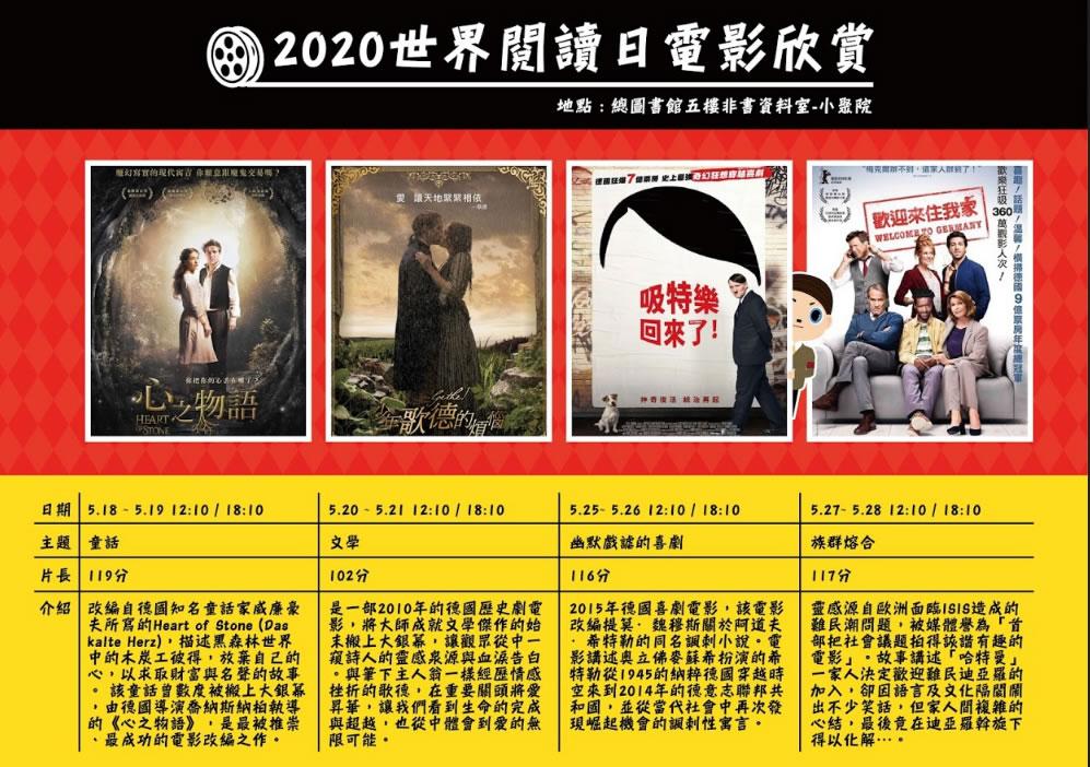 2020世界閱讀日電影欣賞