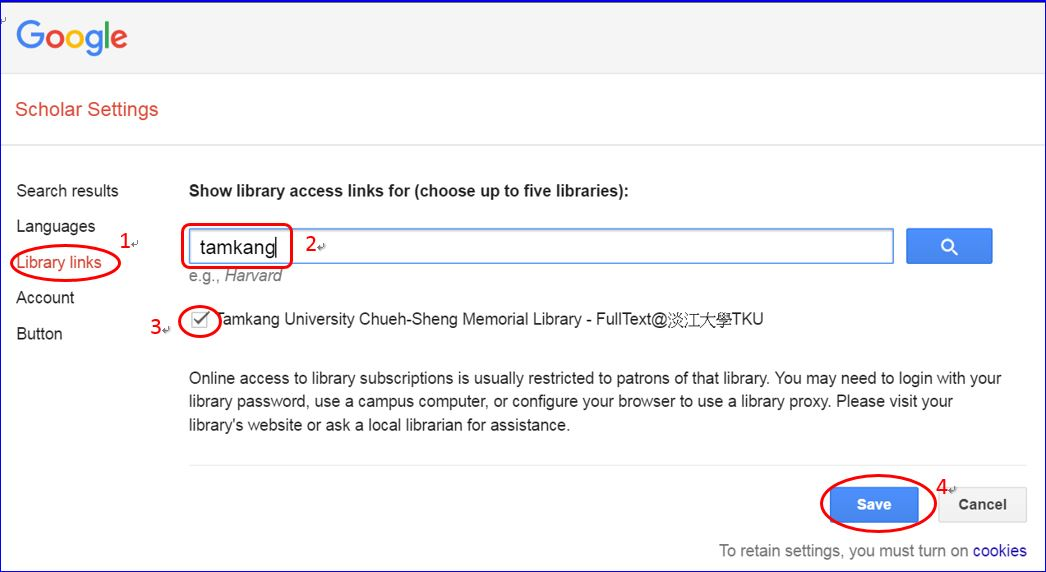 Google Scholar library links setting